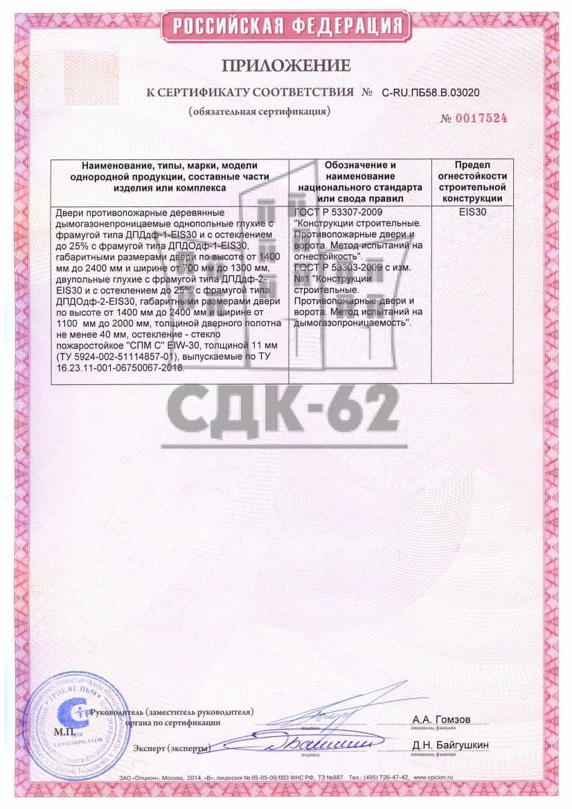 Приложение к сертификату без фрамуг